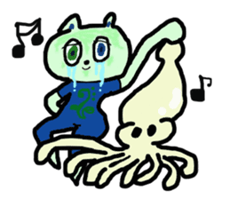 cry emamouse Animal and Squid sticker #11633942