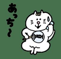 Kawaii White Kitty Summer sticker #11655973
