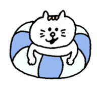 Kawaii White Kitty Summer sticker #11655976