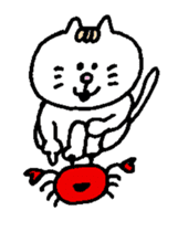 Kawaii White Kitty Summer sticker #11655977