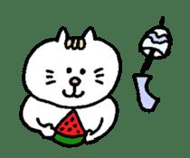 Kawaii White Kitty Summer sticker #11655978
