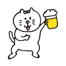 Kawaii White Kitty Summer sticker #11655997