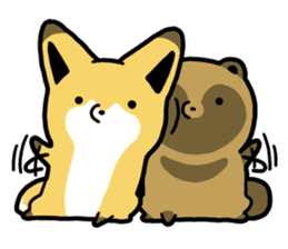 Raccoon dog & Fox sticker #11659943