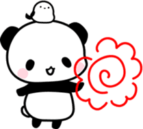 moving panda and bird sticker #11754218