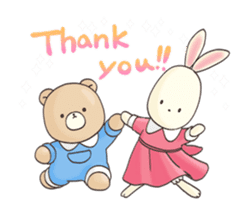 Cute bear and rabbit 8 by Torataro sticker #11754423