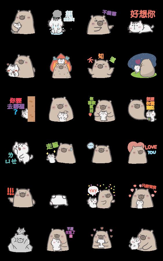 สติ๊กเกอร์ไลน์ Mr. Bear and His Cutie Cat: In love