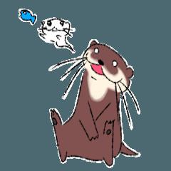 Oriental small-clawed otter sticker