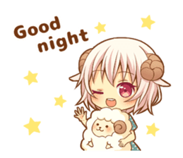 Fluffy sheep girl sticker #11850005