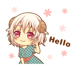 Fluffy sheep girl sticker #11850006