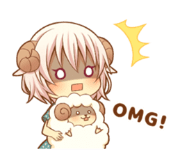 Fluffy sheep girl sticker #11850012