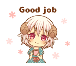 Fluffy sheep girl sticker #11850032