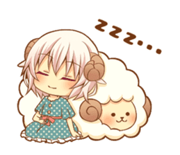 Fluffy sheep girl sticker #11850037