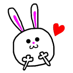 Pretty sticker of white rabbit