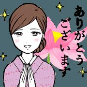 สติ๊กเกอร์ไลน์ japanese beauty OKAMI (animation)