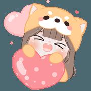 สติ๊กเกอร์ไลน์ Chubby Girl : Shiba (Big Sticker)