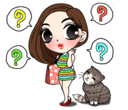 Yuri with mom and cat sticker #12011674