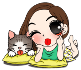 Yuri with mom and cat sticker #12011682