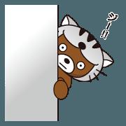 สติ๊กเกอร์ไลน์ Bear of moving sticker wearing a cat