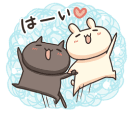 Shiro the rabbit & kuro the cat Part3 sticker #12041185