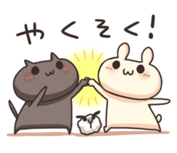 Shiro the rabbit & kuro the cat Part3 sticker #12041187