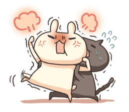 Shiro the rabbit & kuro the cat Part3 sticker #12041191