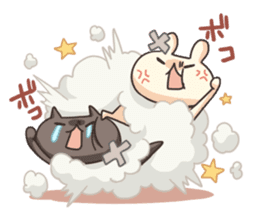 Shiro the rabbit & kuro the cat Part3 sticker #12041193