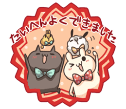 Shiro the rabbit & kuro the cat Part3 sticker #12041198