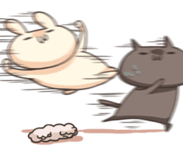 Shiro the rabbit & kuro the cat Part3 sticker #12041221