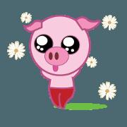สติ๊กเกอร์ไลน์ Pink Pig Wearing a Red Pants animate