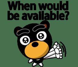 Black Eyebrows Bear 19 ( English ) sticker #12200906
