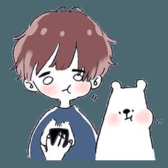 Loose polar bear & boy