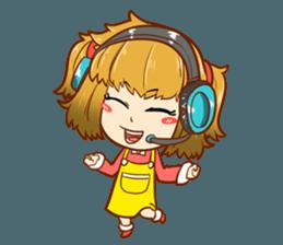 A ponytail little girl 2 + sticker #12218104