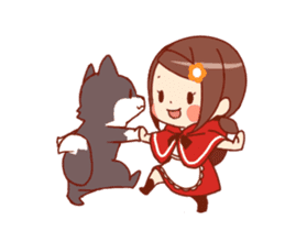 Little Red Riding Hood & Wolf Animated sticker #12280389
