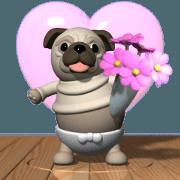 สติ๊กเกอร์ไลน์ Innocent pug (Movie 02)