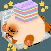 สติ๊กเกอร์ไลน์ น้ำตาล : ทำงานหนักและกลายเป็นแมว