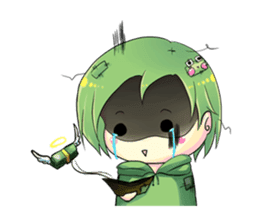 A little cat girl and the frog gamer sticker #12522324