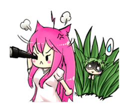 A little cat girl and the frog gamer sticker #12522326