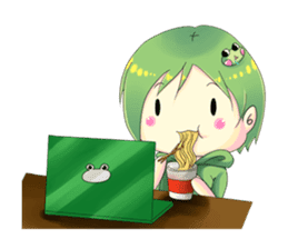 A little cat girl and the frog gamer sticker #12522341