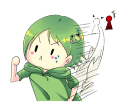 A little cat girl and the frog gamer sticker #12522343