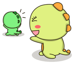 Kawaii Dino and friend sticker #12548873