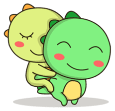 Kawaii Dino and friend sticker #12548877