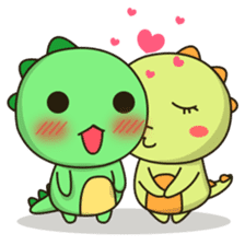 Kawaii Dino and friend sticker #12548879