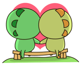 Kawaii Dino and friend sticker #12548882