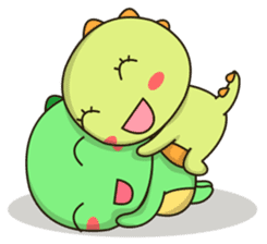 Kawaii Dino and friend sticker #12548890