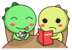 Kawaii Dino and friend sticker #12548892