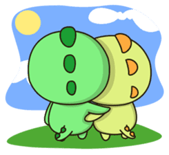 Kawaii Dino and friend sticker #12548893