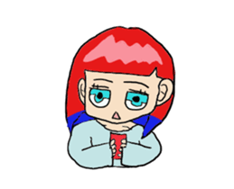 The female of the red hair which moves sticker #12552606