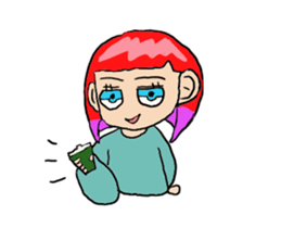 The female of the red hair which moves sticker #12552611