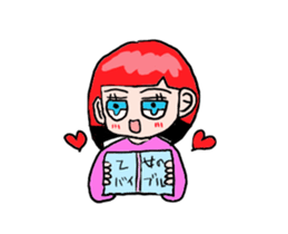The female of the red hair which moves sticker #12552613
