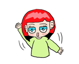 The female of the red hair which moves sticker #12552614